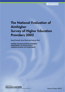 The national evaluation of Aimhigher survey of higher education providers 2003