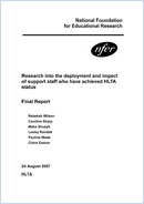 Research into the deployment and impact of support staff who have achieved HLTA status: Final report
