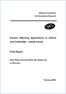 Factors affecting applications to Oxford and Cambridge: Repeat survey